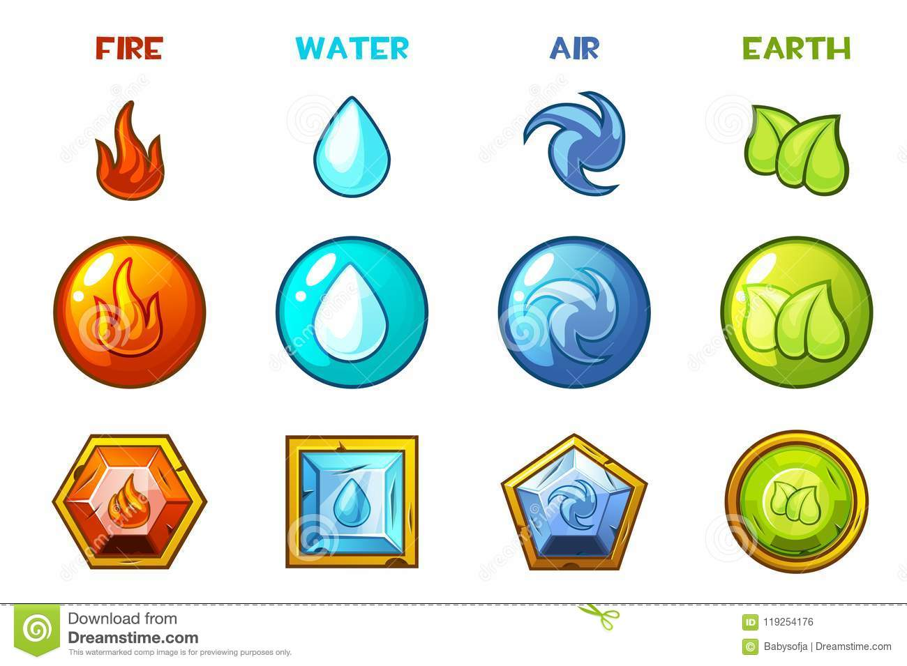 Water Fire Clef Raw Emotion Passion: Cartoon Four Natural Elements Icons