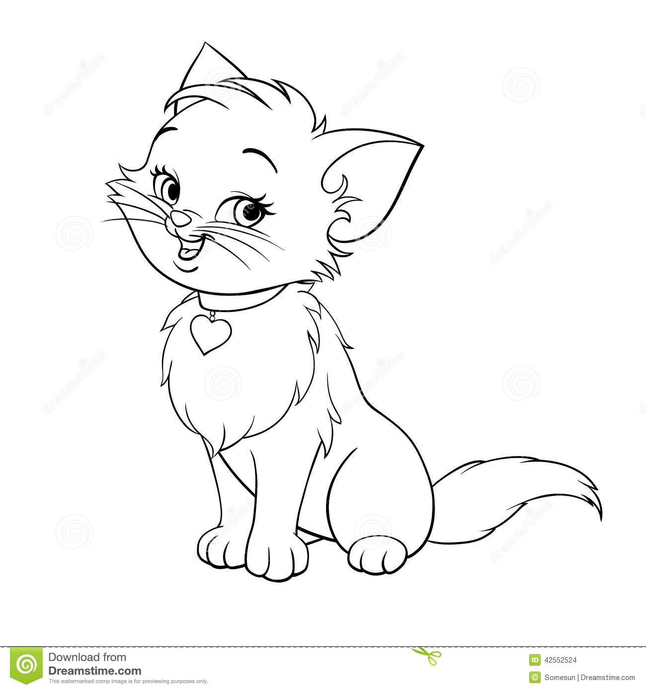 Vector Cartoon Fun Cute Kitten Line Art Stock Vector