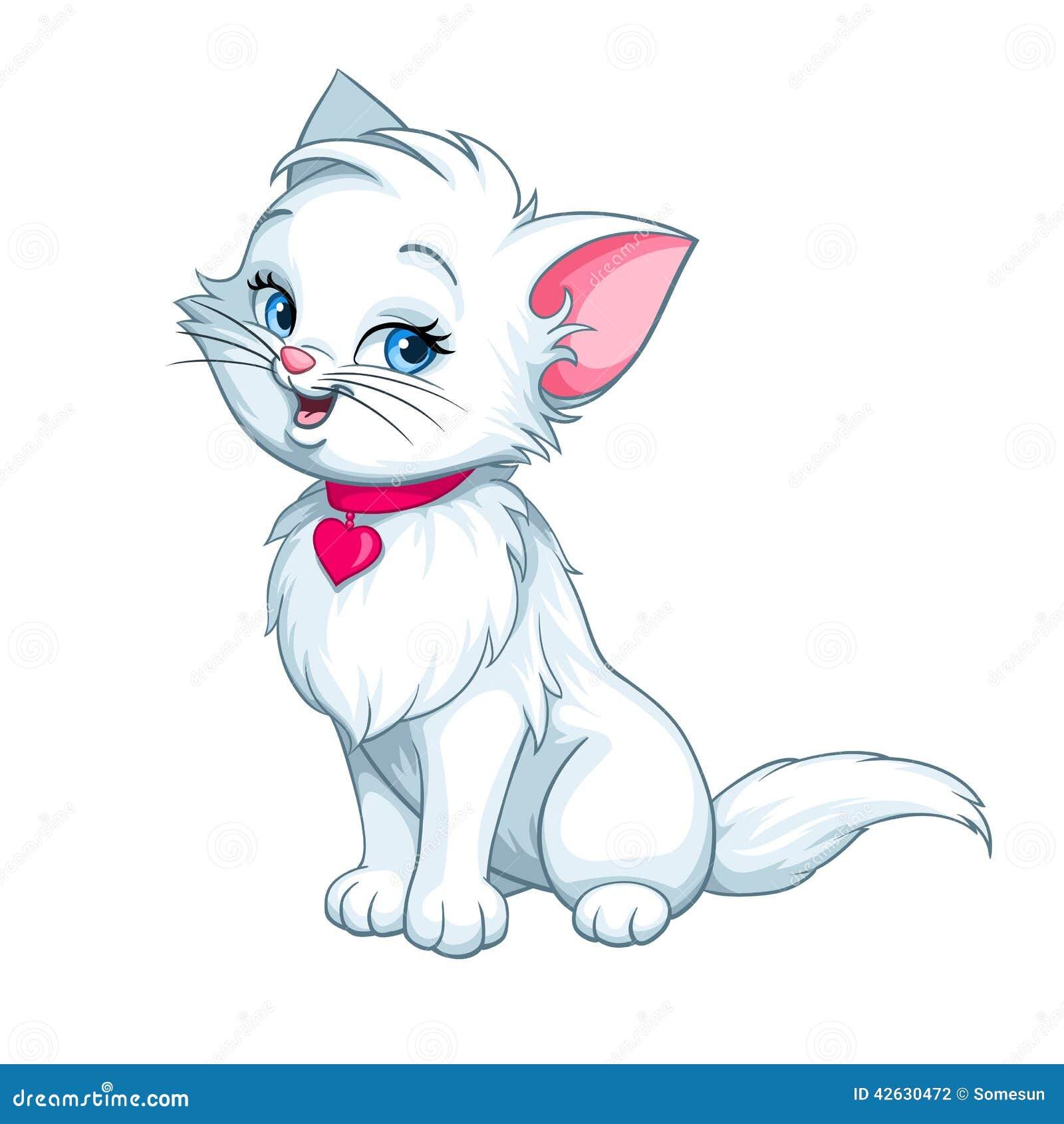 Vector Cartoon Fun Cute White Kitten Happy Stock Vector Image
