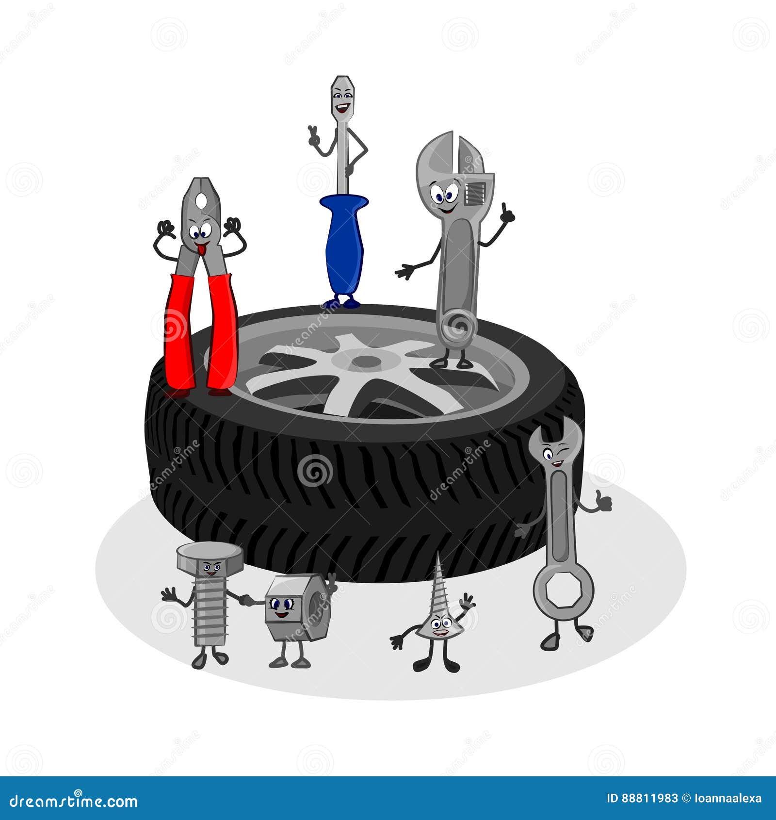 Vector Cartoon Funny Illustration Of Auto Service Stock