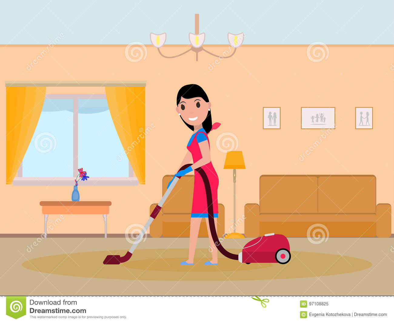 Vector Cartoon Girl Maid Cleaning Apartment Stock Vector