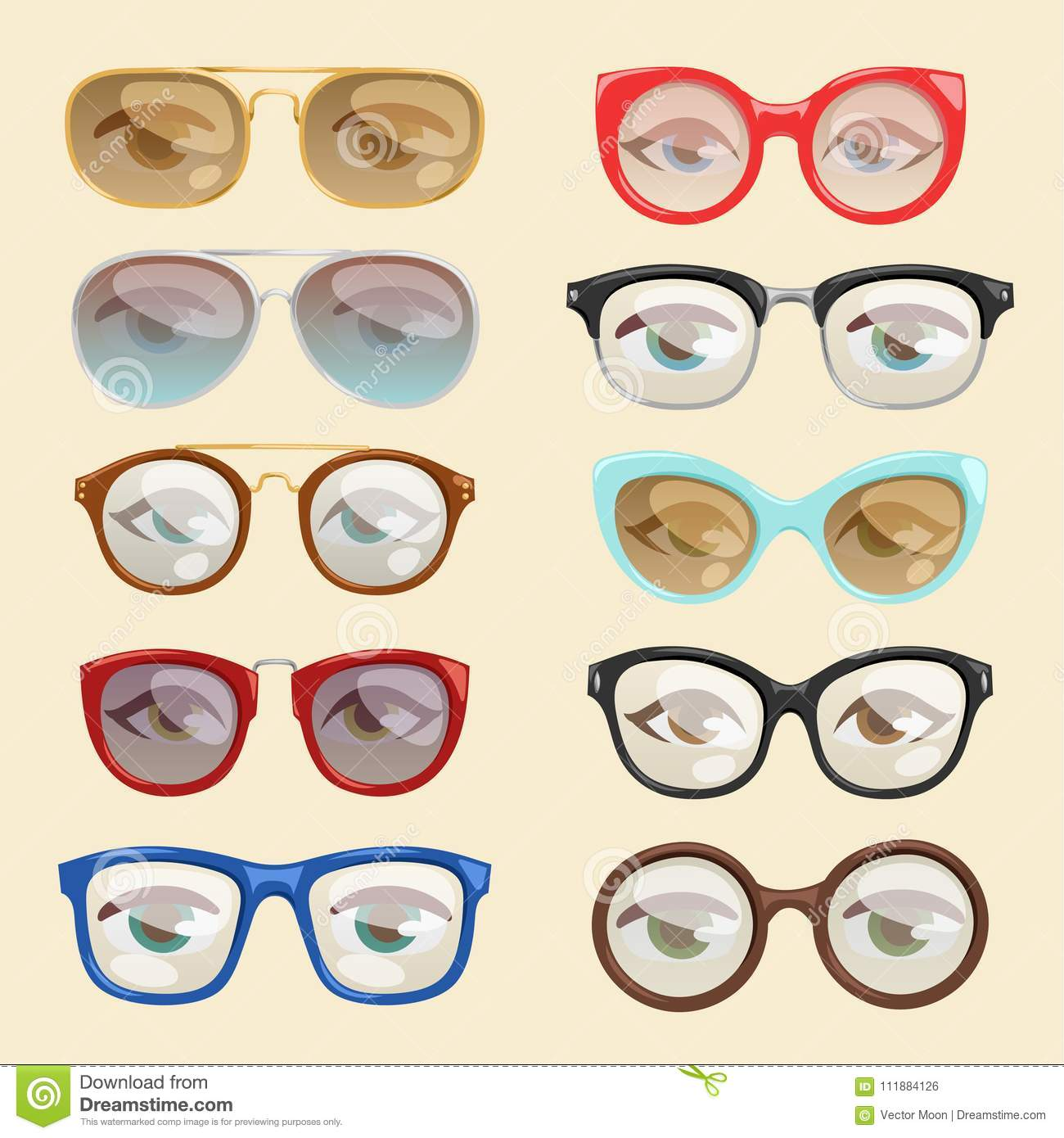 60df747265d Vector cartoon glasses face eyes cartoon eyeglass frame or sunglasses in  shapes and accessories for hipsters