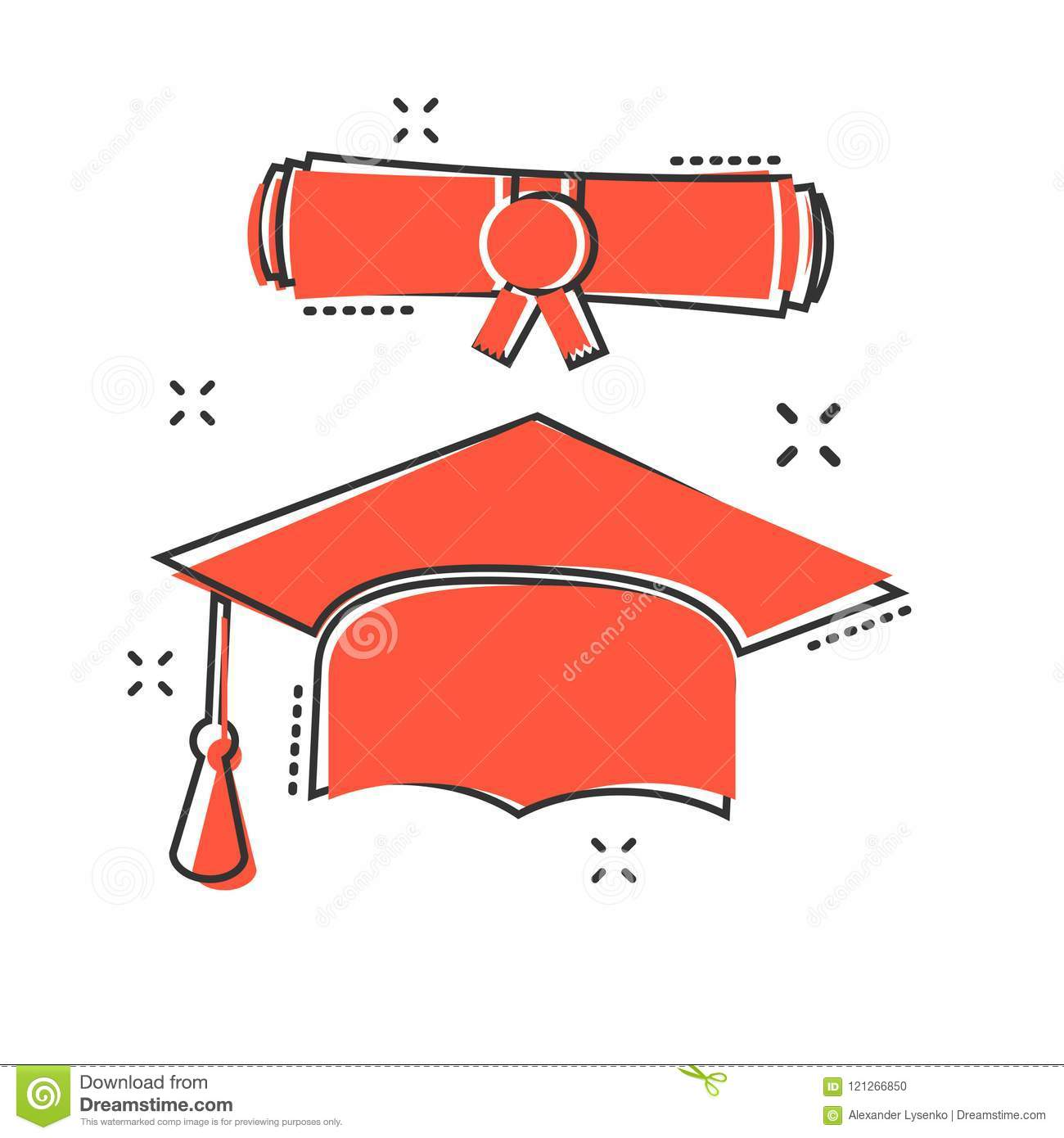 Vector cartoon graduation cap and diploma scroll icon in comic s