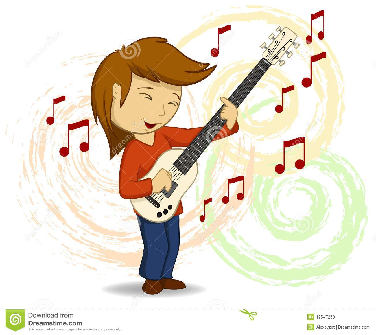 Vector Cartoon Guitar Player With Background Royalty Free Stock Images Image 17547269