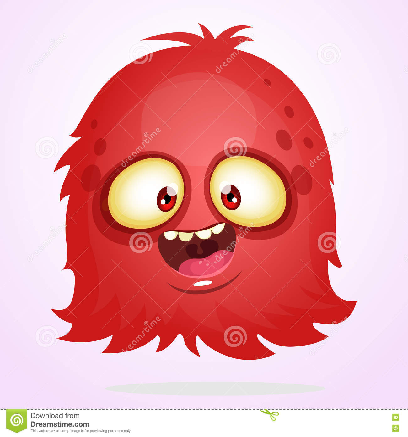 vector cartoon halloween monster. red furry flying monster with big