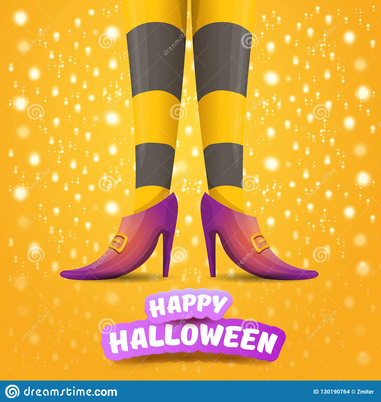 Vector cartoon halloween party poster with women witch legs and vintage ribbon with text happy halloween on orange