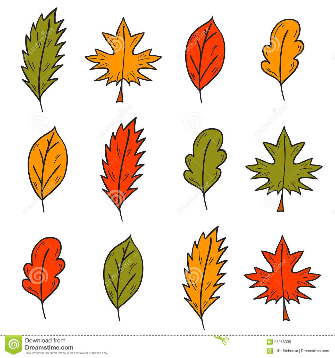 Vector Cartoon Hand Drawn Colorful Autumn Leaves Stock Vector Illustration Of Lush Beauty 95056006