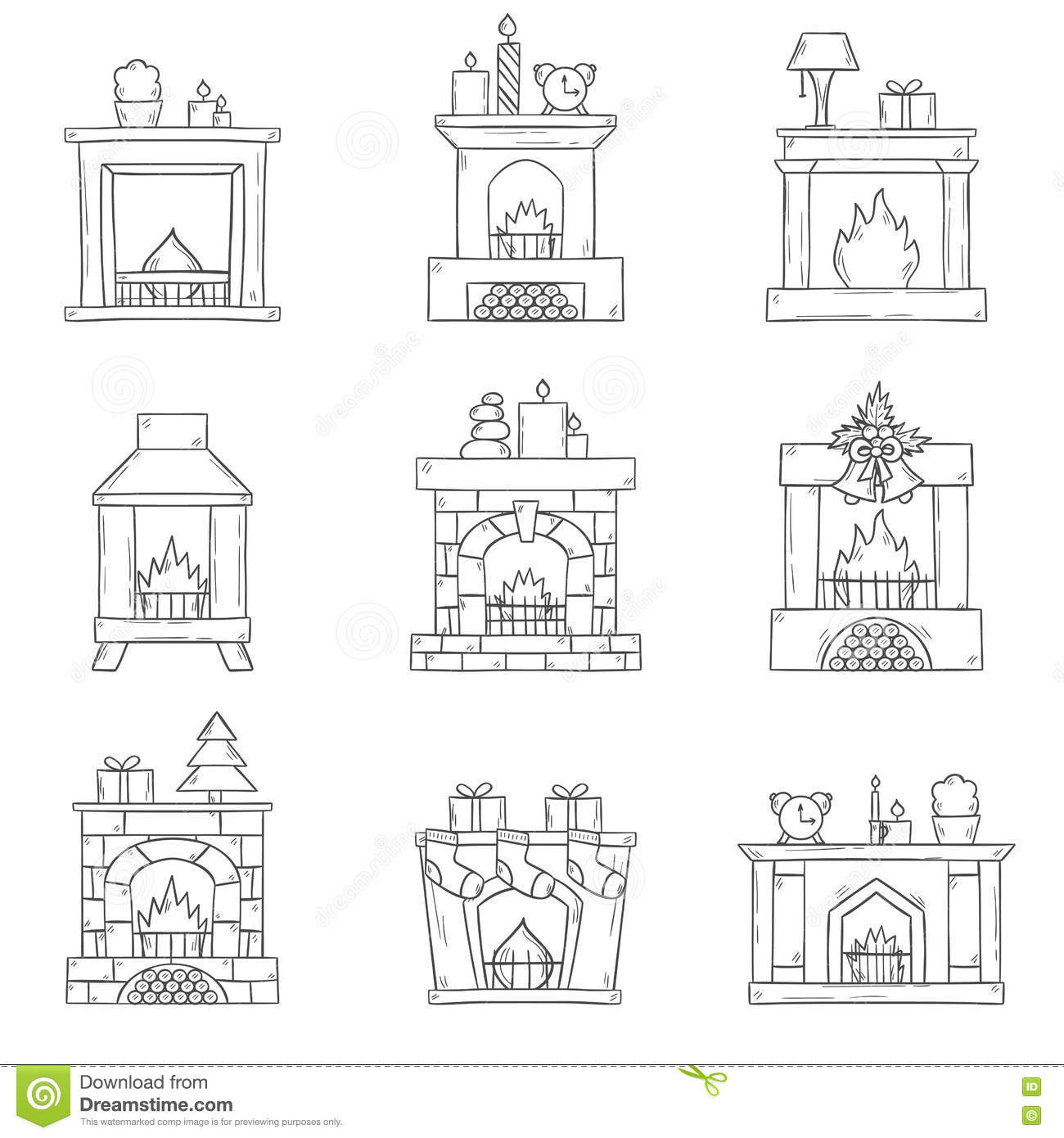 vector cartoon hand drawn fireplaces icon set stock vector image