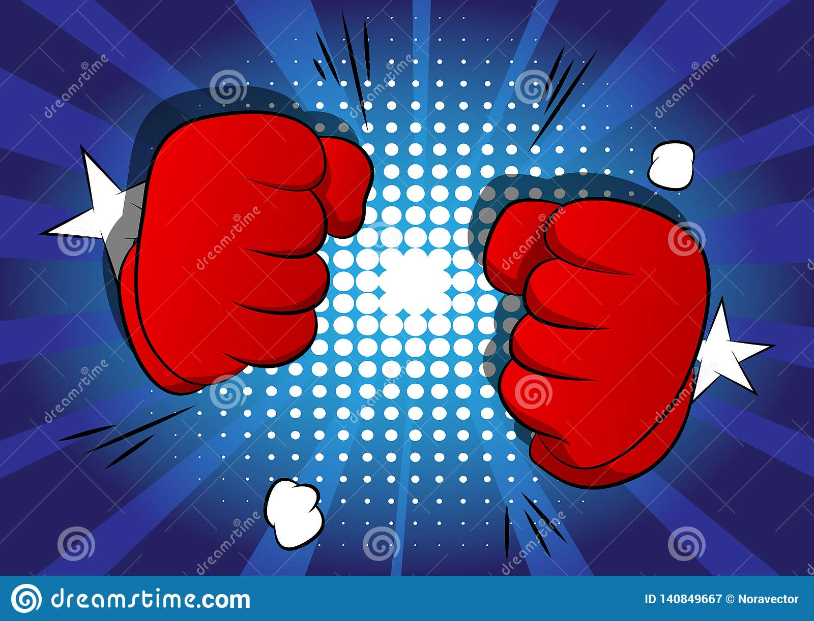 Cartoon Hands Ready To Fight On Comic Book Background Stock Vector Illustration Of Draw Fighter 140849667