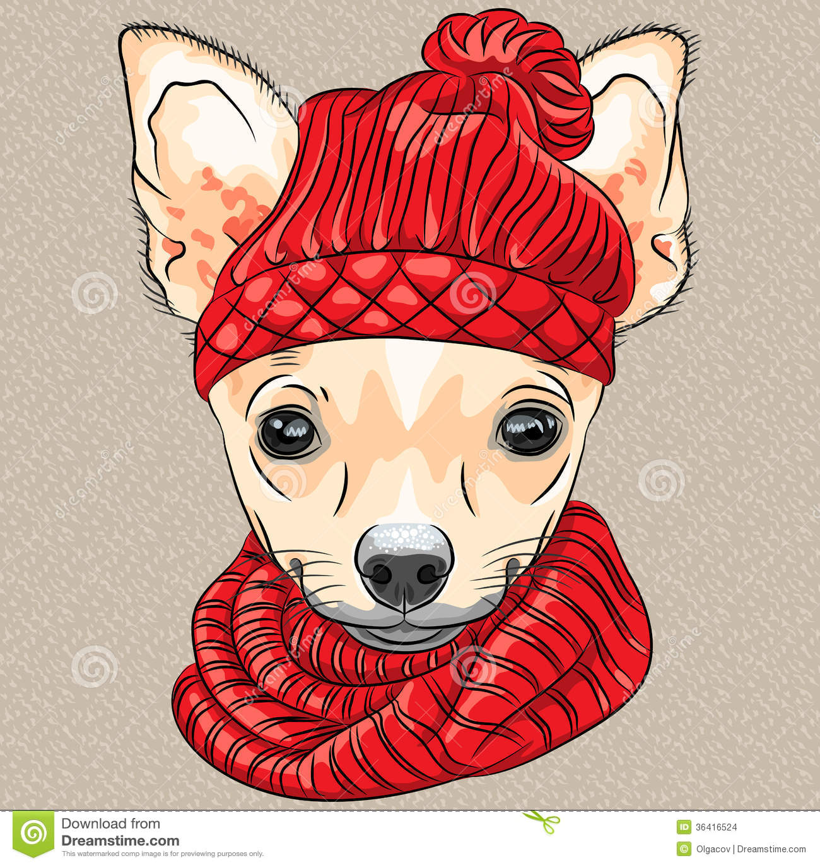 Vector Cartoon Hipster Dog Chihuahua Breed Smiling Stock ...