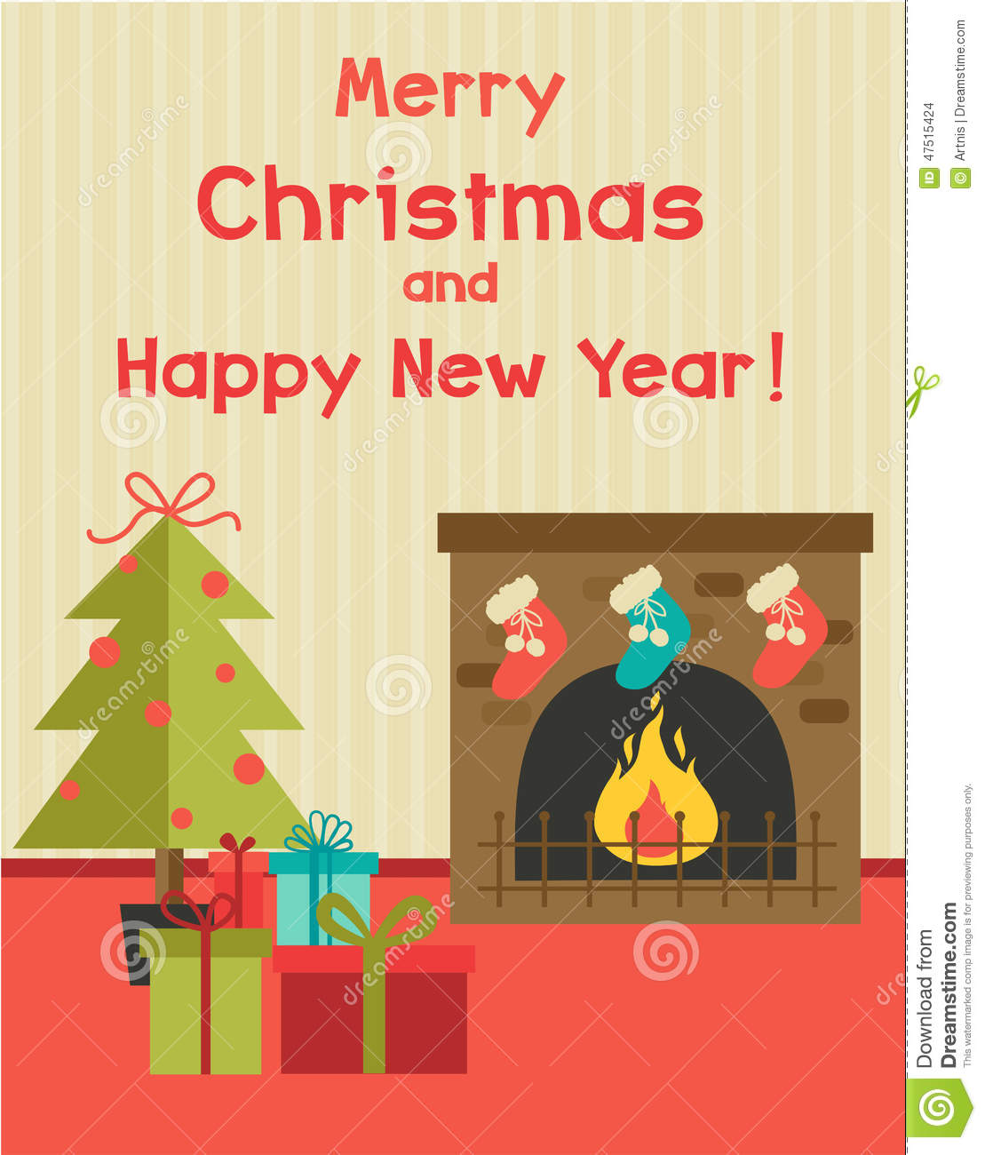 vector cartoon holiday illustration with fireplace new year tree