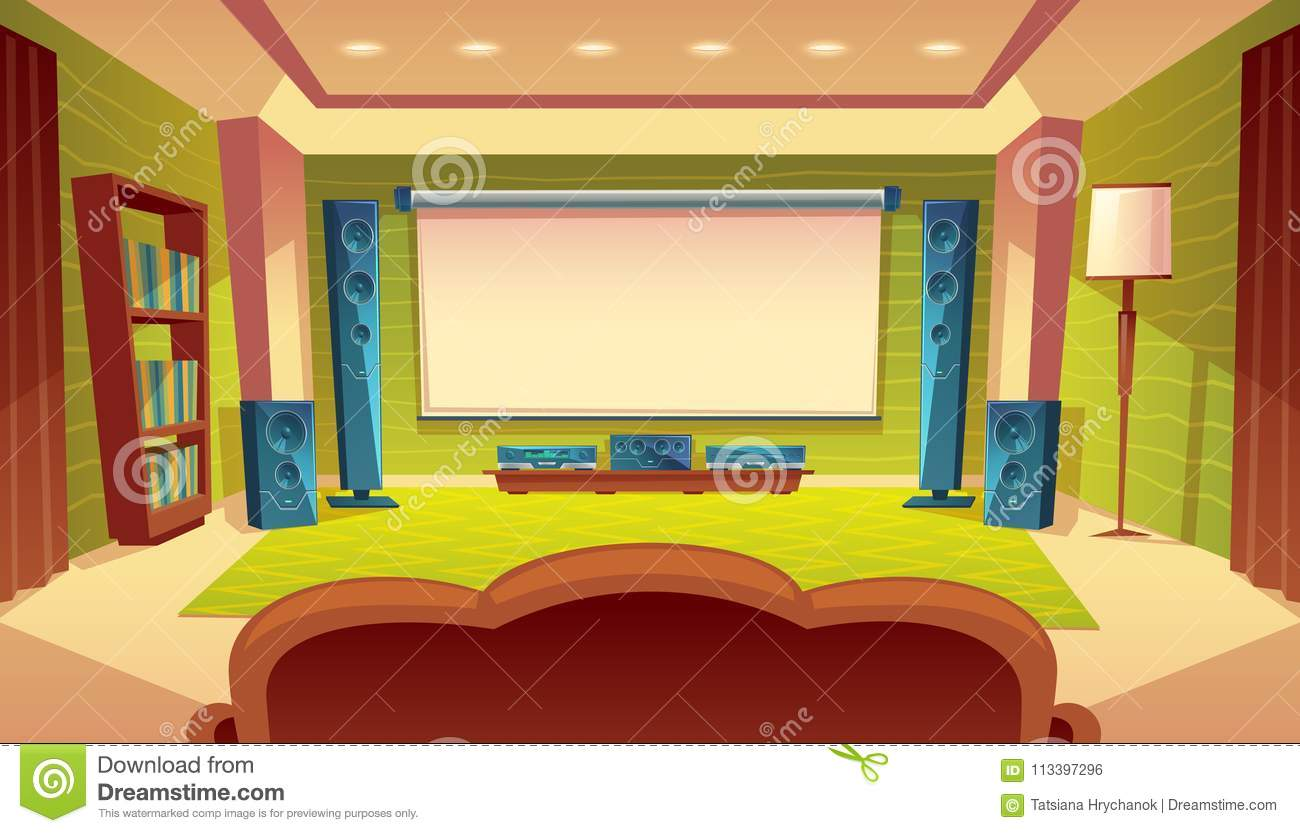 Vector Cartoon Home Theater With Projector Screen Stock Vector