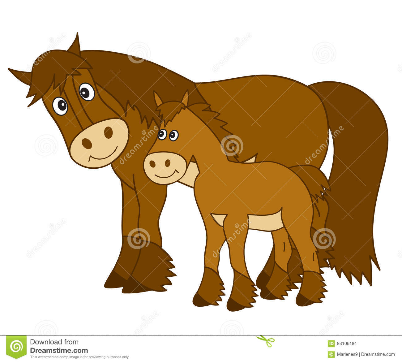 Vector Cartoon Horse With Foal Horse Clipart Stock Vector Illustration Of Running Graphics 93106184