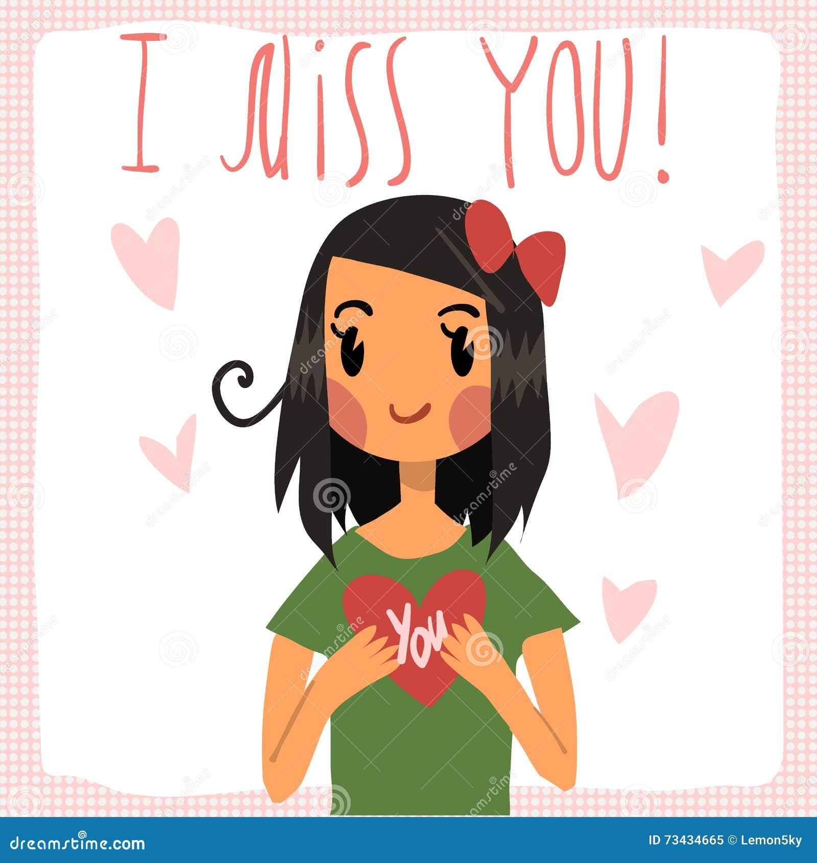 Vector Cartoon I Miss You Flat Greeting Card Stock Vector