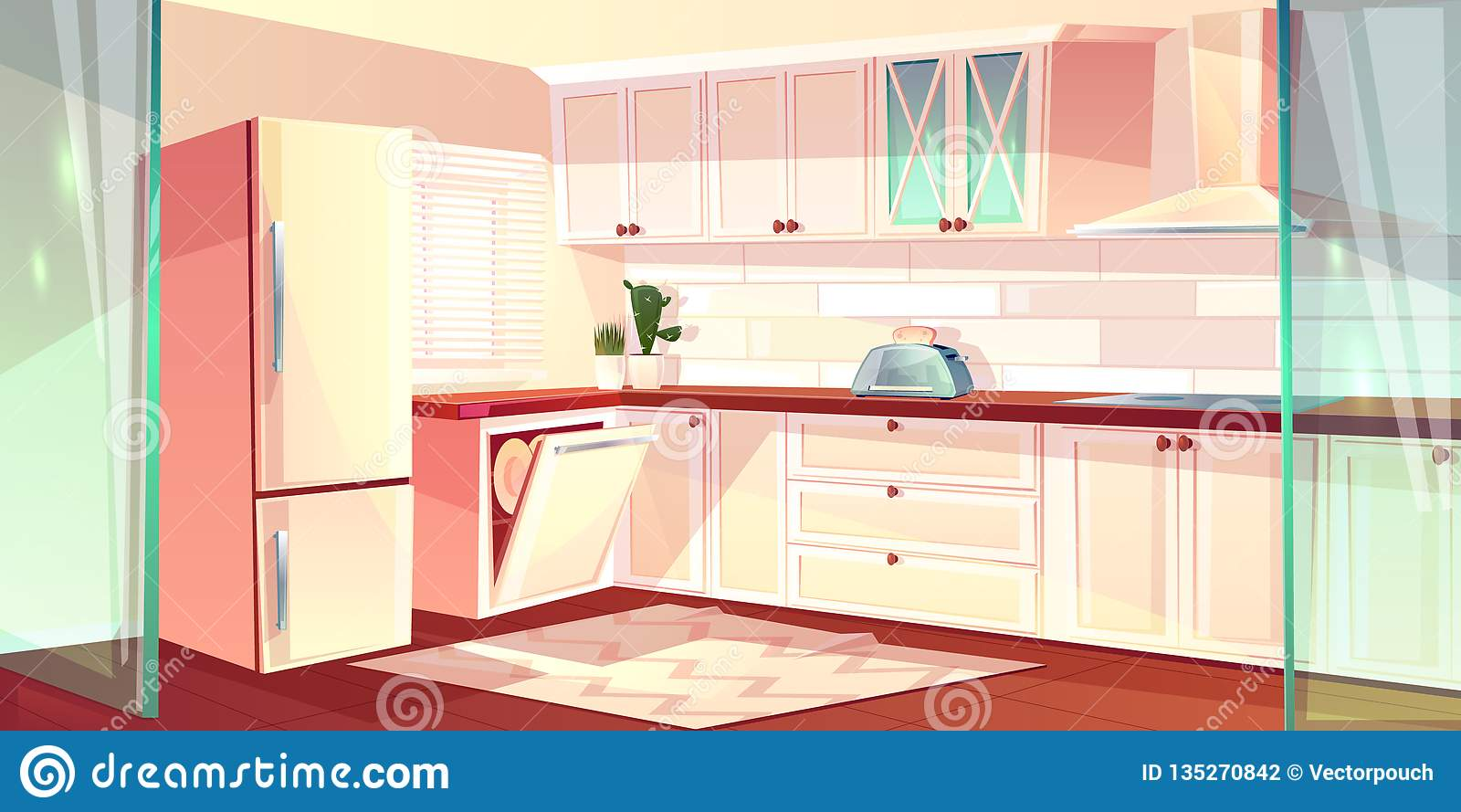 Vector Cartoon Bright Kitchen In Pink Colors Stock Vector ...