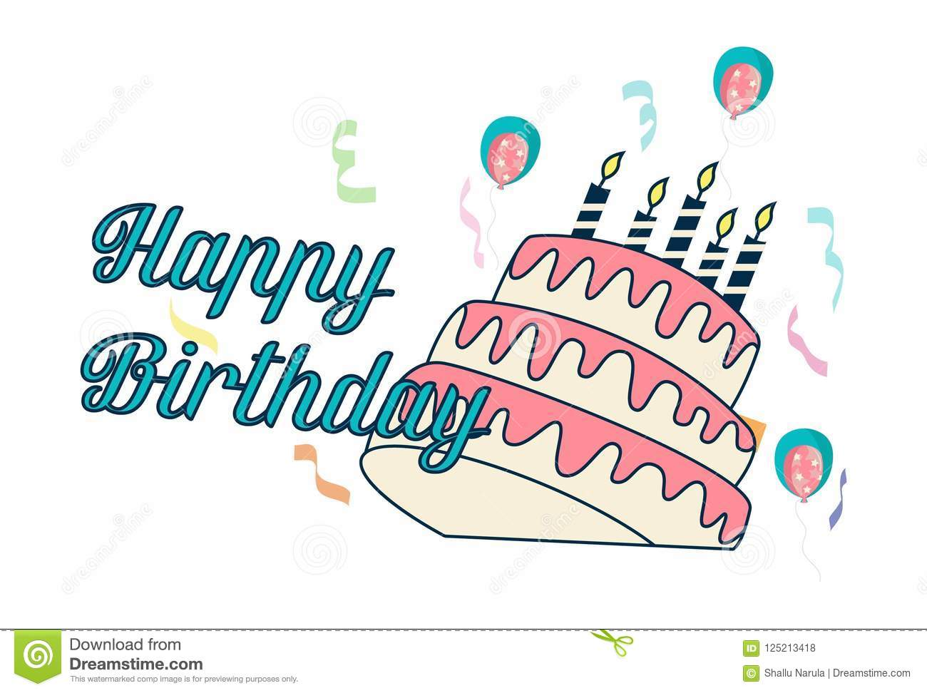 Cute happy birthday sticker banner with cake and candles vector illustration isolated on white background