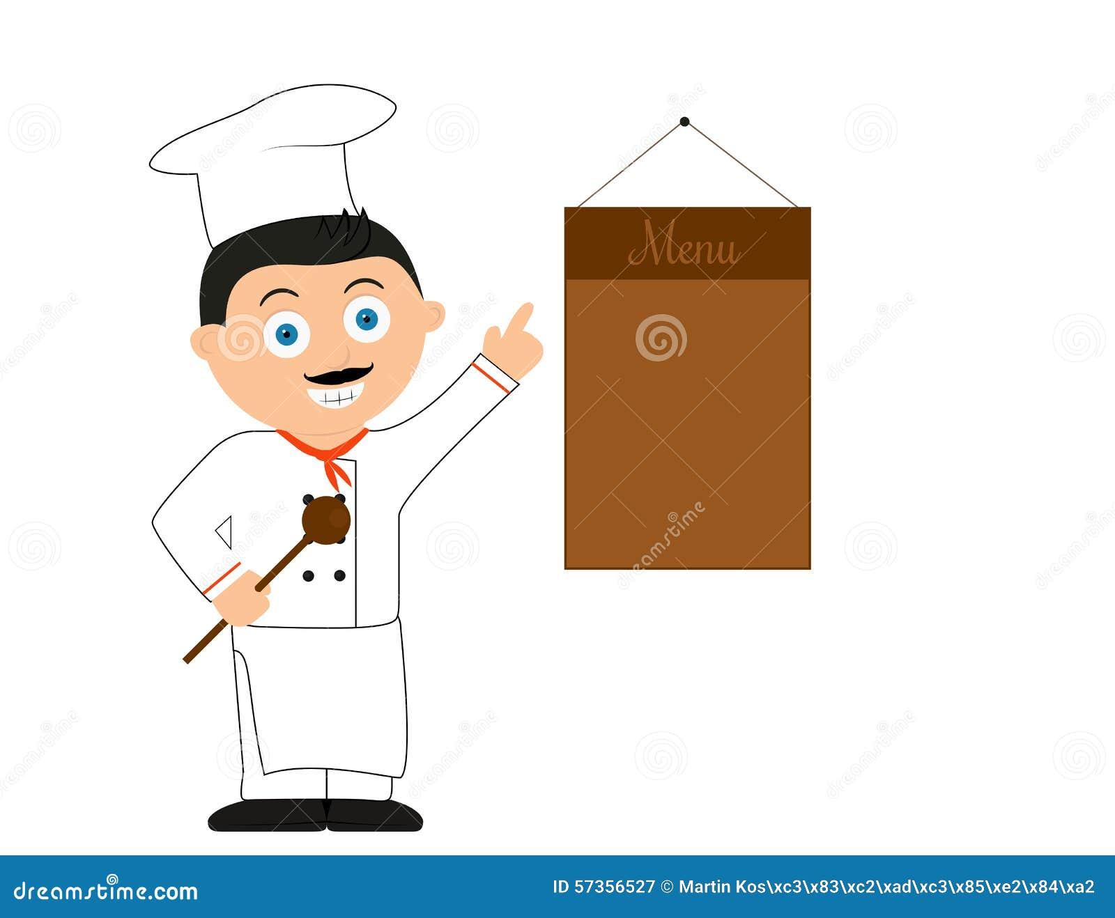 vector cartoon illustration of chef man stock vector image 57356527