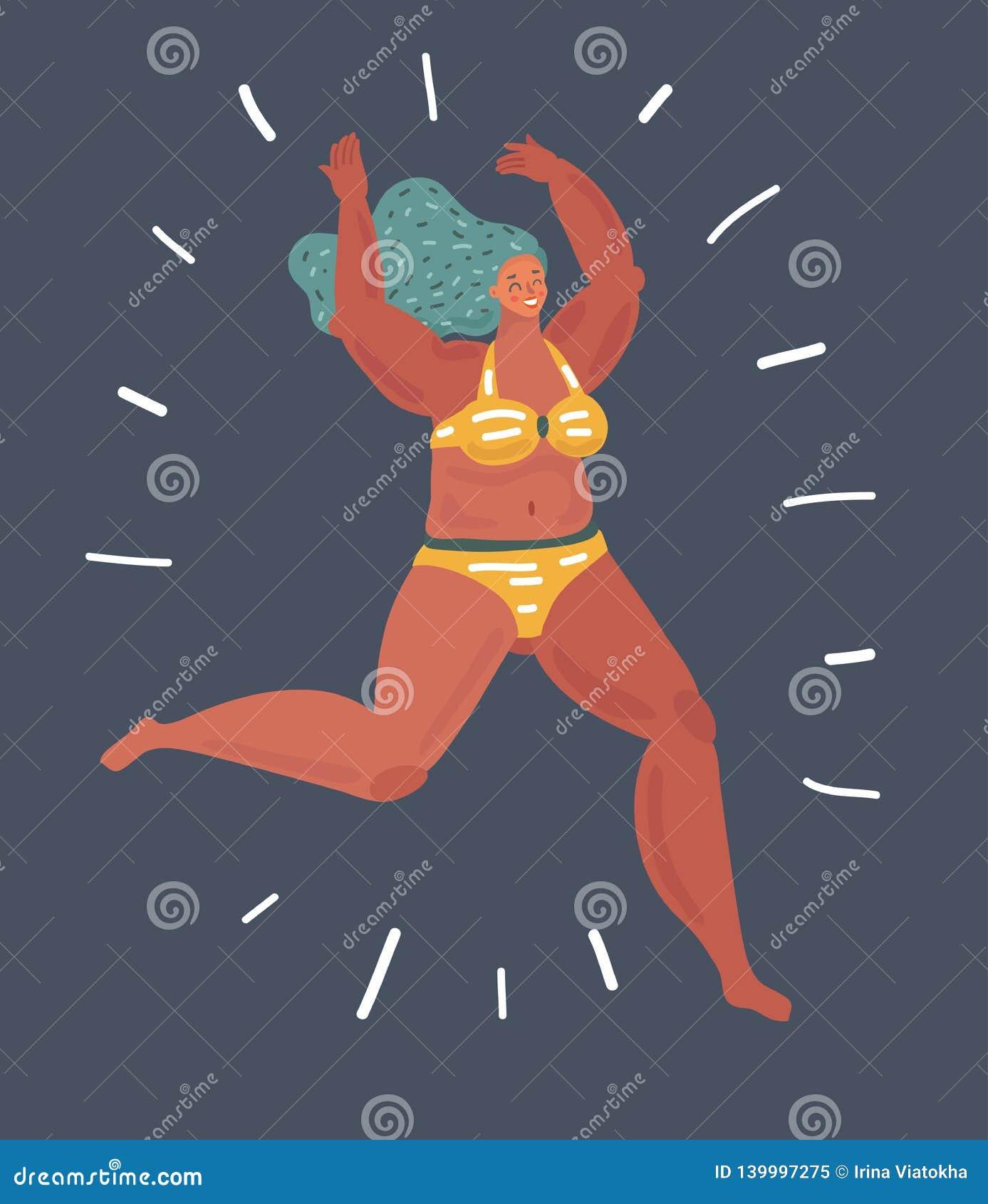 7696d42d695 Curvy girl swimming. stock vector. Illustration of heel - 139997275