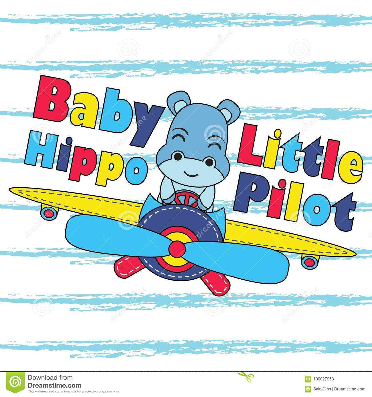 Vector Cartoon Illustration With Cute Baby Hippo As Little