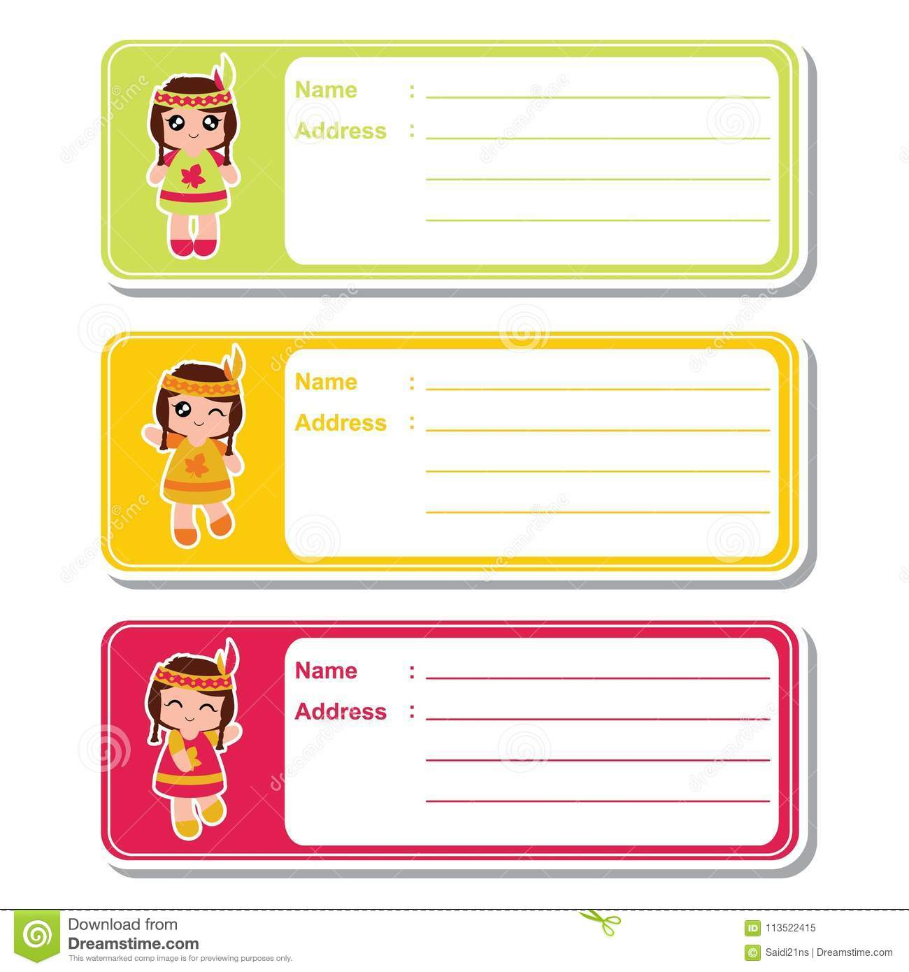 indian girls on colorful background suitable for kid address label