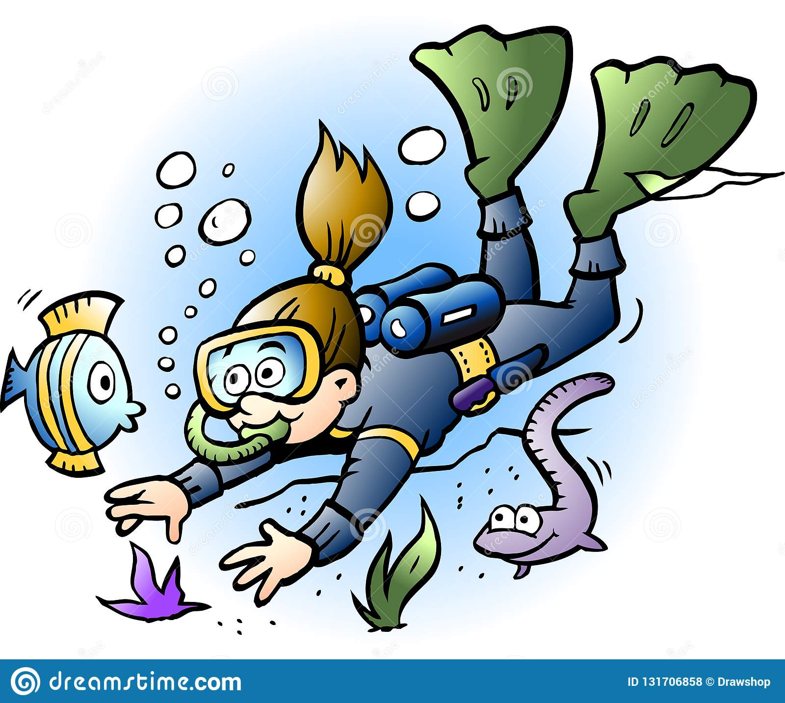 Vector Cartoon Illustration Of A Diver Looking At Colorful Fish ...