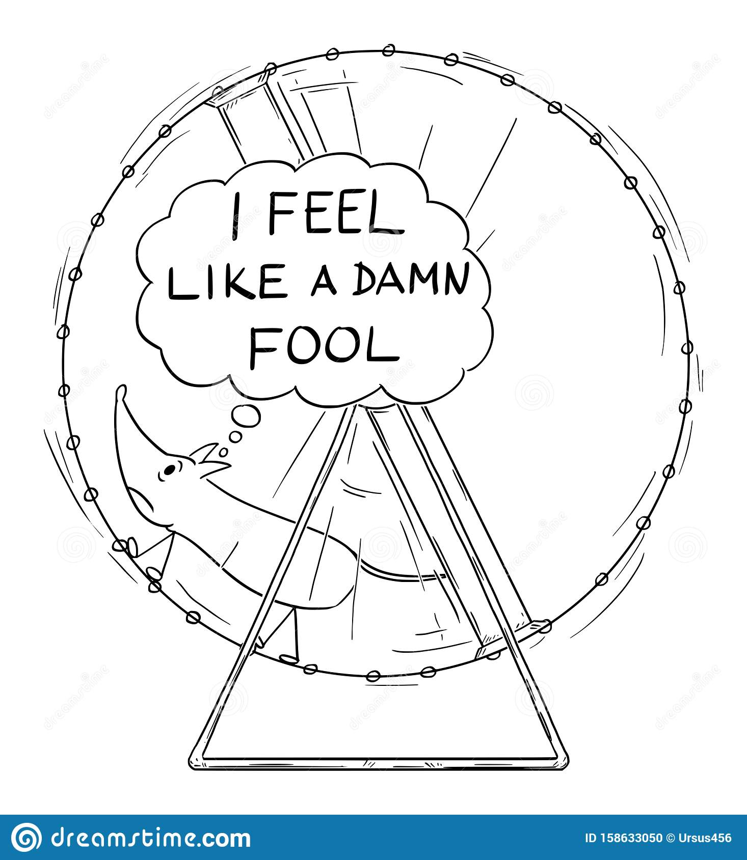 Vector Cartoon Illustration of Frustrated Mouse Running in Wheel with I Feel Like a Damn Fool Speech Bubble