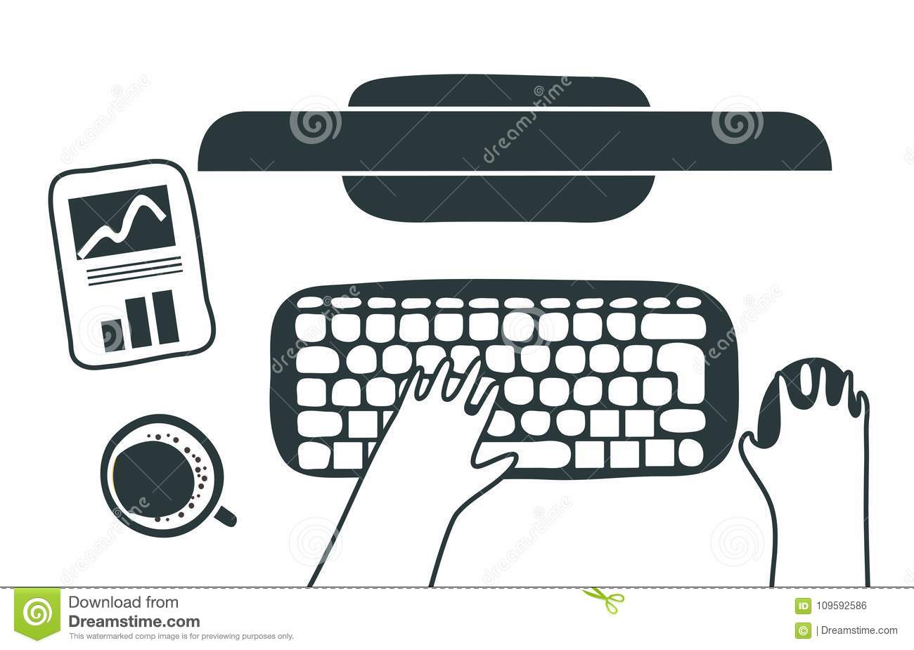 Excellent A Man Is Typing On Keyboard On Modern White Office Desk Stock Wiring Cloud Hisonuggs Outletorg