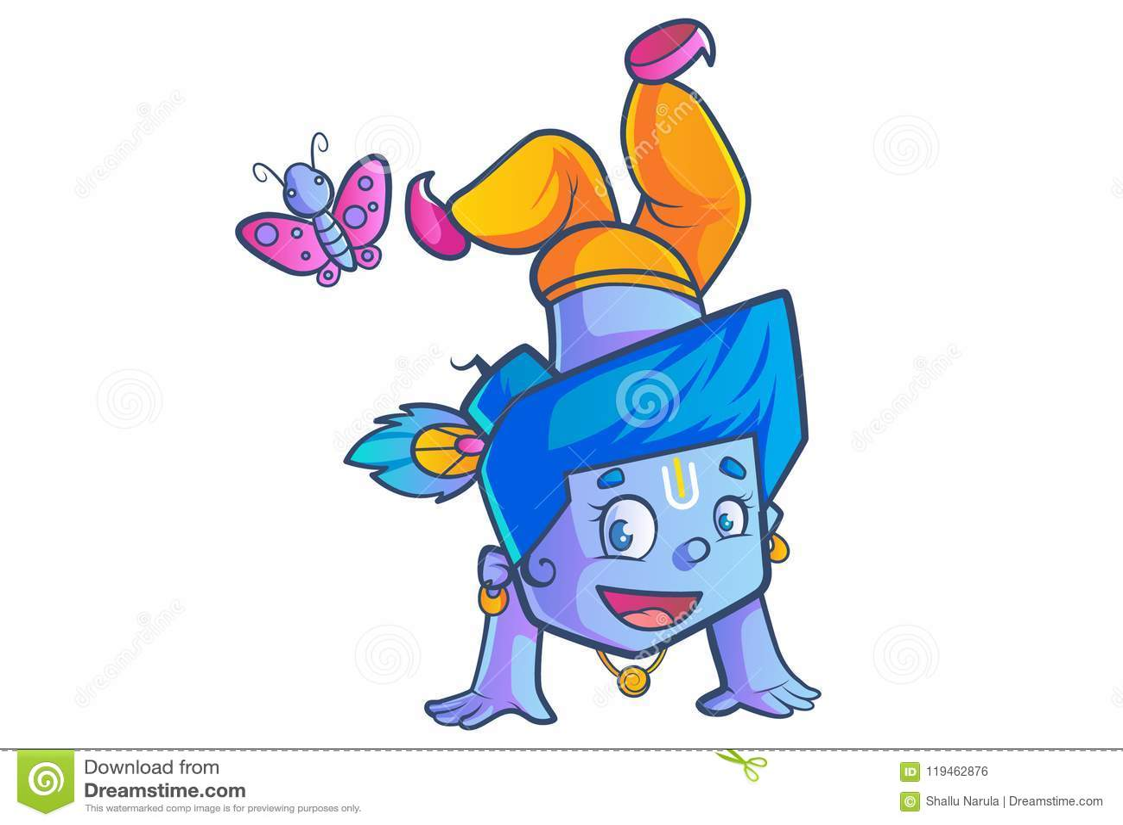 Cute Lord Krishna stock vector  Illustration of culture