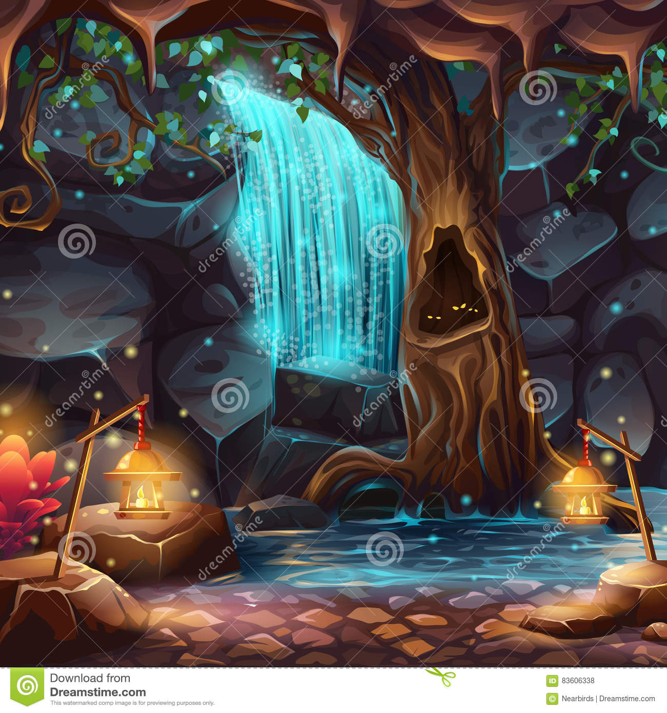 Vector cartoon illustration of a magical waterfall
