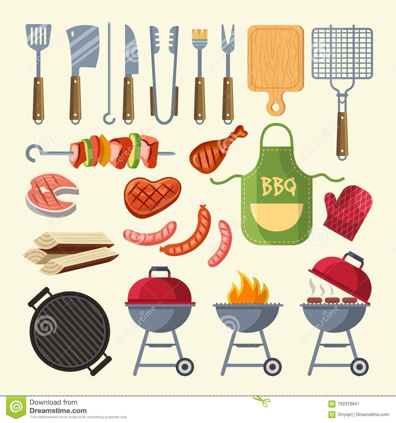 Vector cartoon illustration of meat, sauce, grill and other elements for bbq party