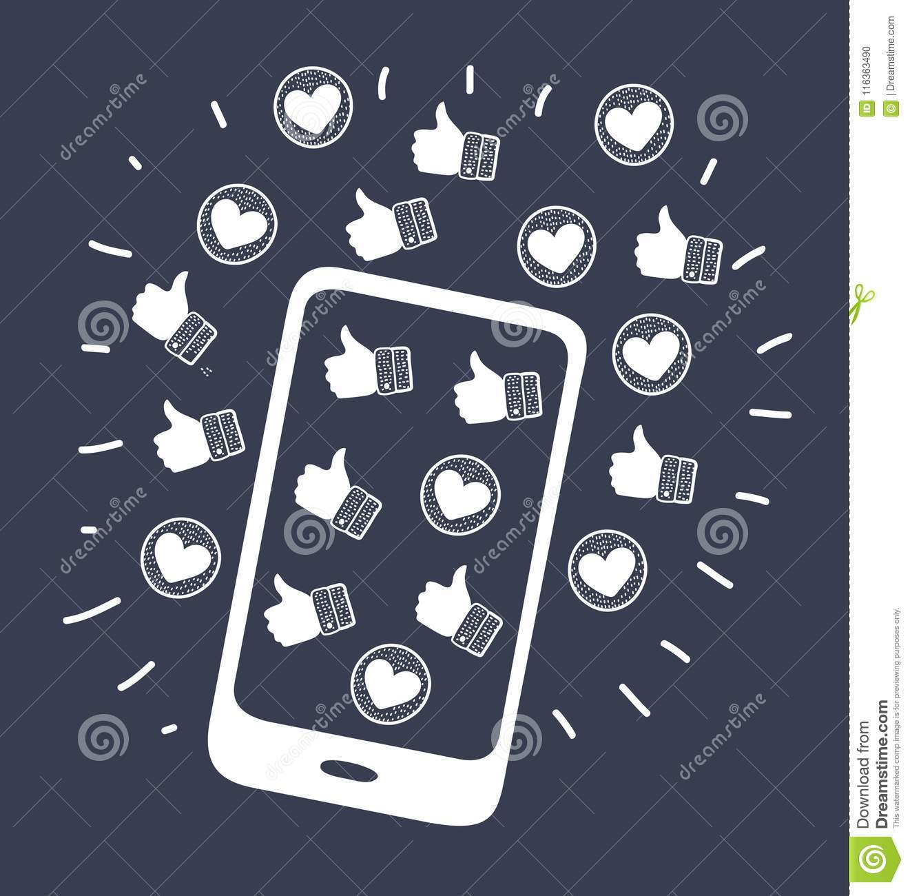 Mobile Phone Case Icons Stock Vector Illustration Of Background
