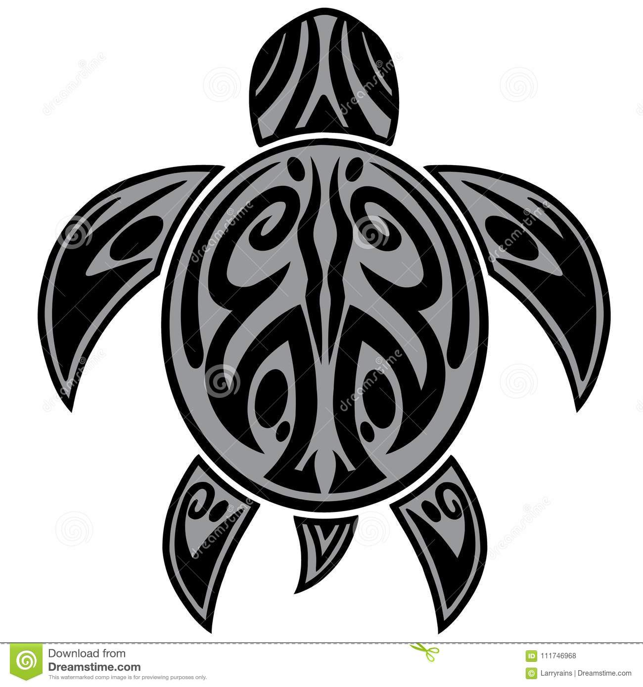 Sea Turtle Tribal Tattoo Illustration Stock Vector Illustration Of