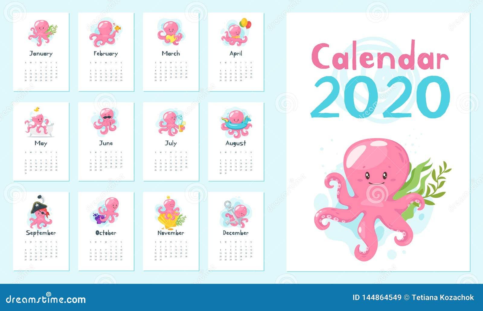 2020 calendar page.
