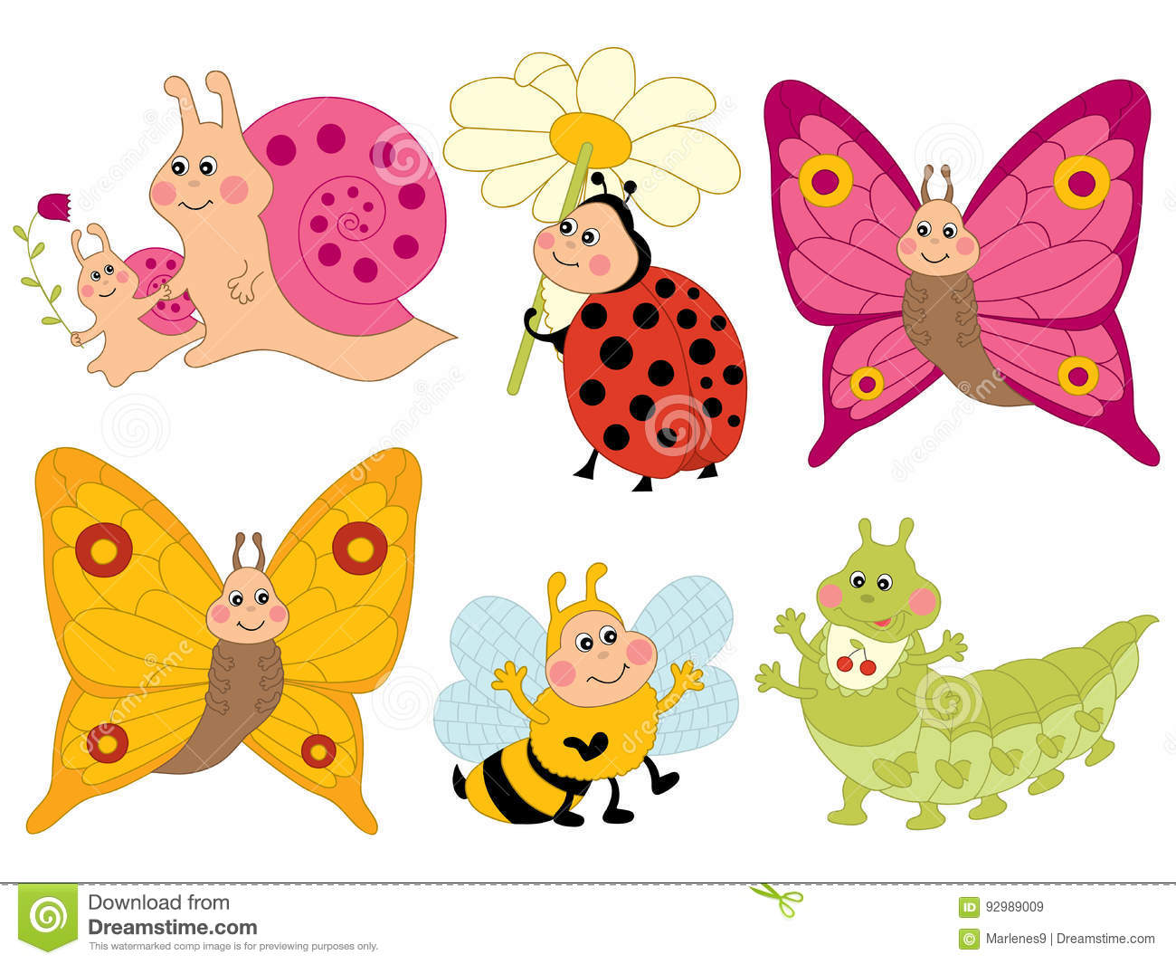 Vector Cartoon Insects Set Insects Clipart Stock Vector