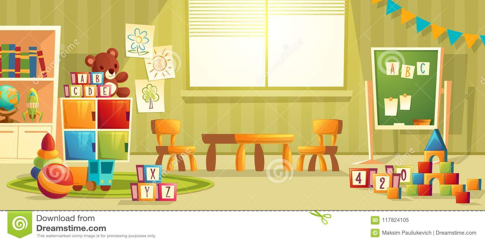 Modern Classroom Clipart ~ Vector cartoon interior of kindergarten room stock