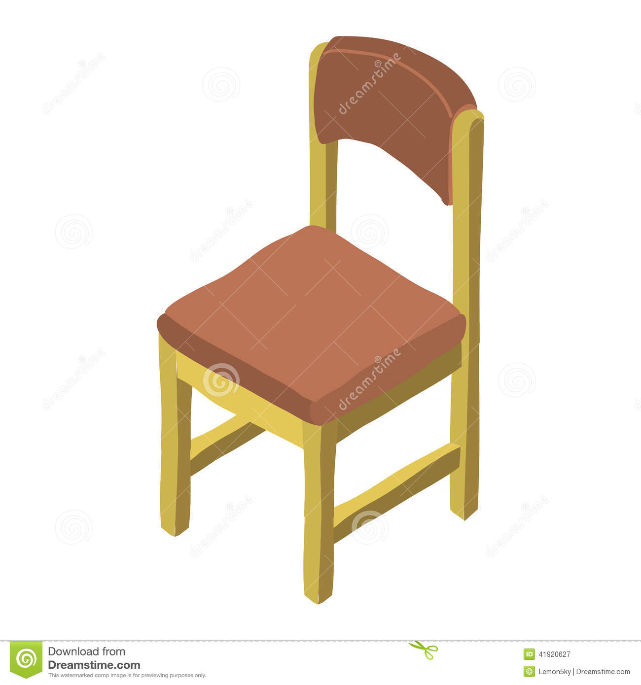 Vector Cartoon Isometric Wood Chair Icon Stock Vector