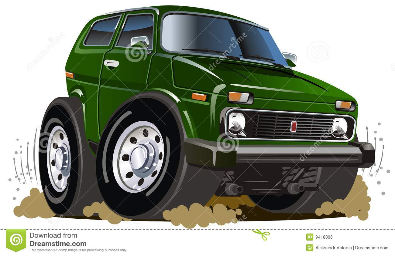 vector cartoon jeep royalty free stock image