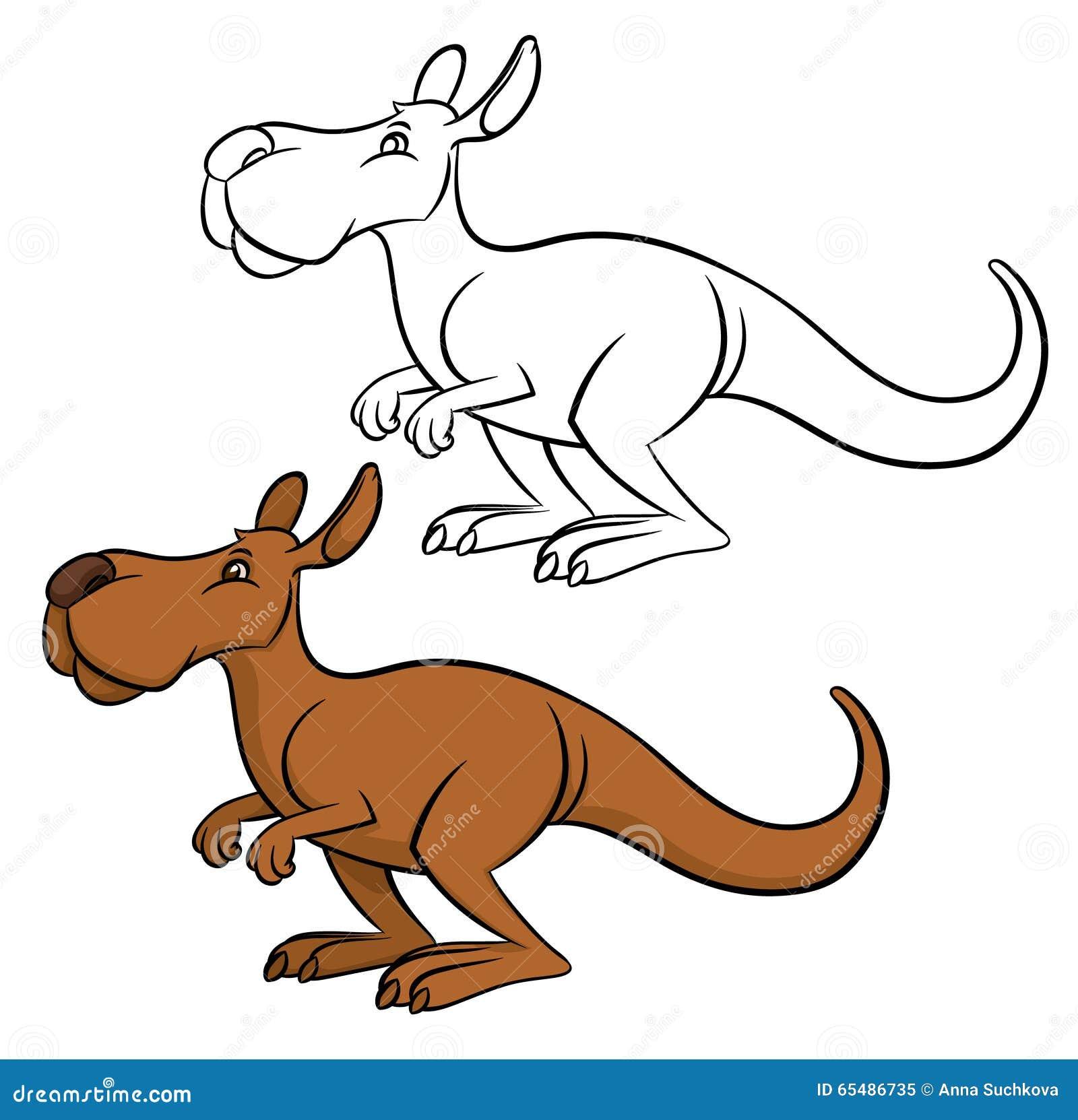 Line Art Kangaroo : Vector cartoon kangaroo stock illustration of