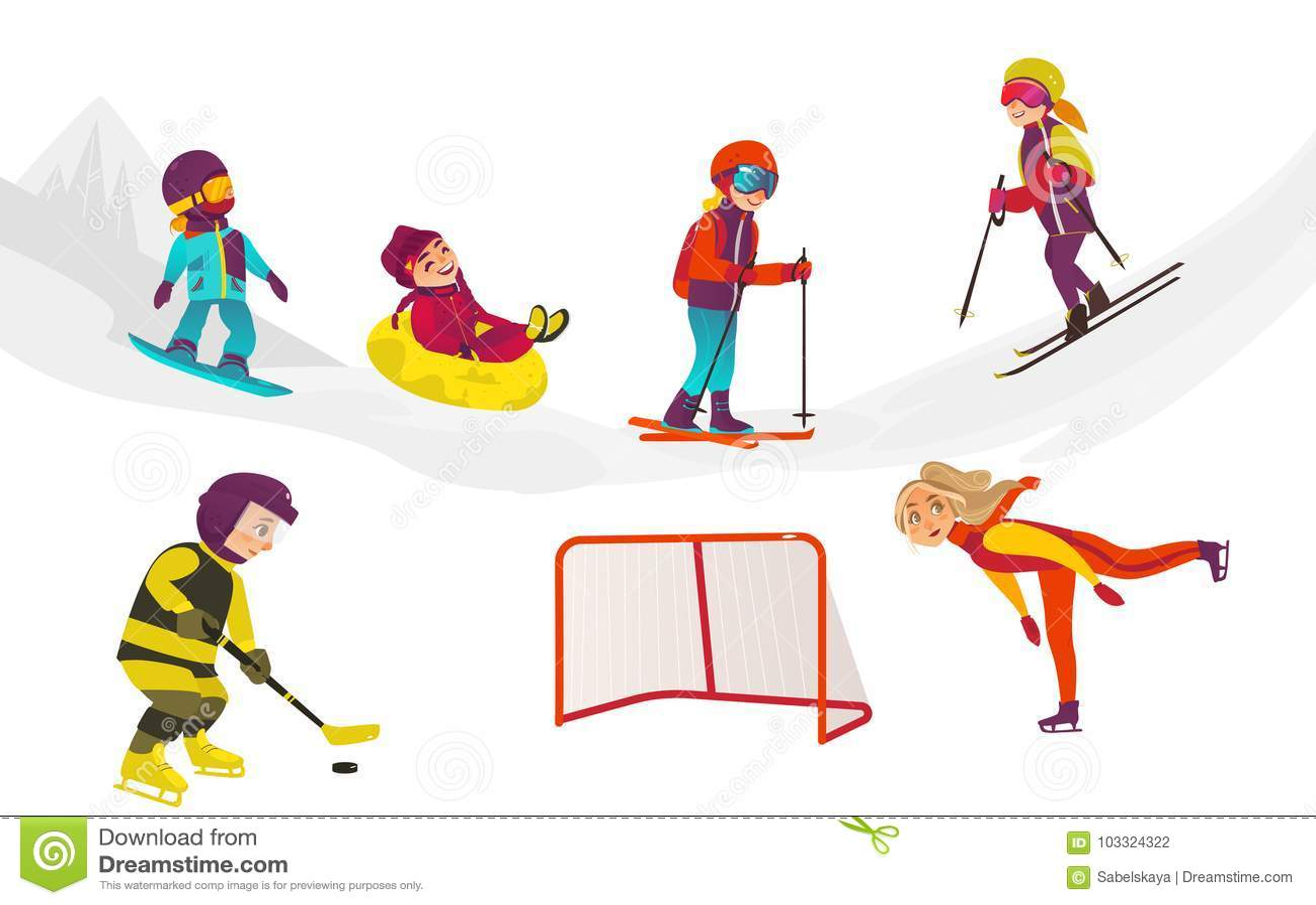 856c97083 Vector Flat Kids Doing Winter Outdoor Sport Set Stock Vector ...