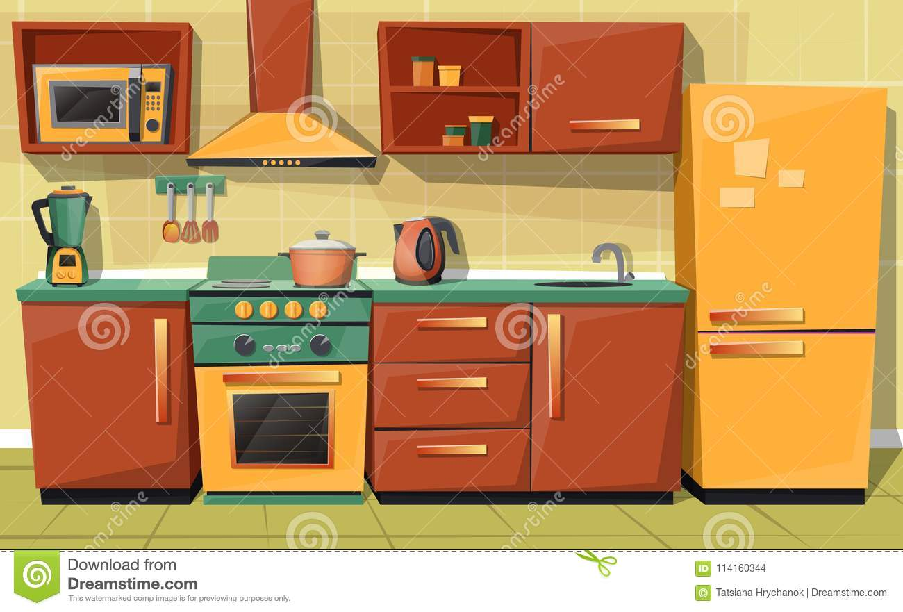 Vector Cartoon Kitchen Counter With Appliances Furniture