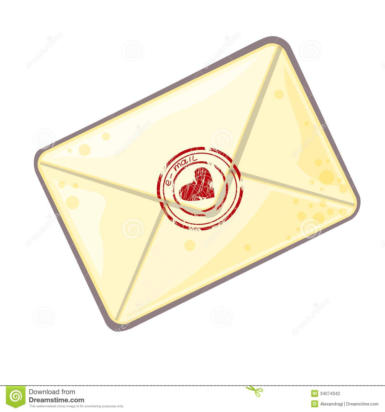 Vector illustration of letter in cartoon style as icon of mail.