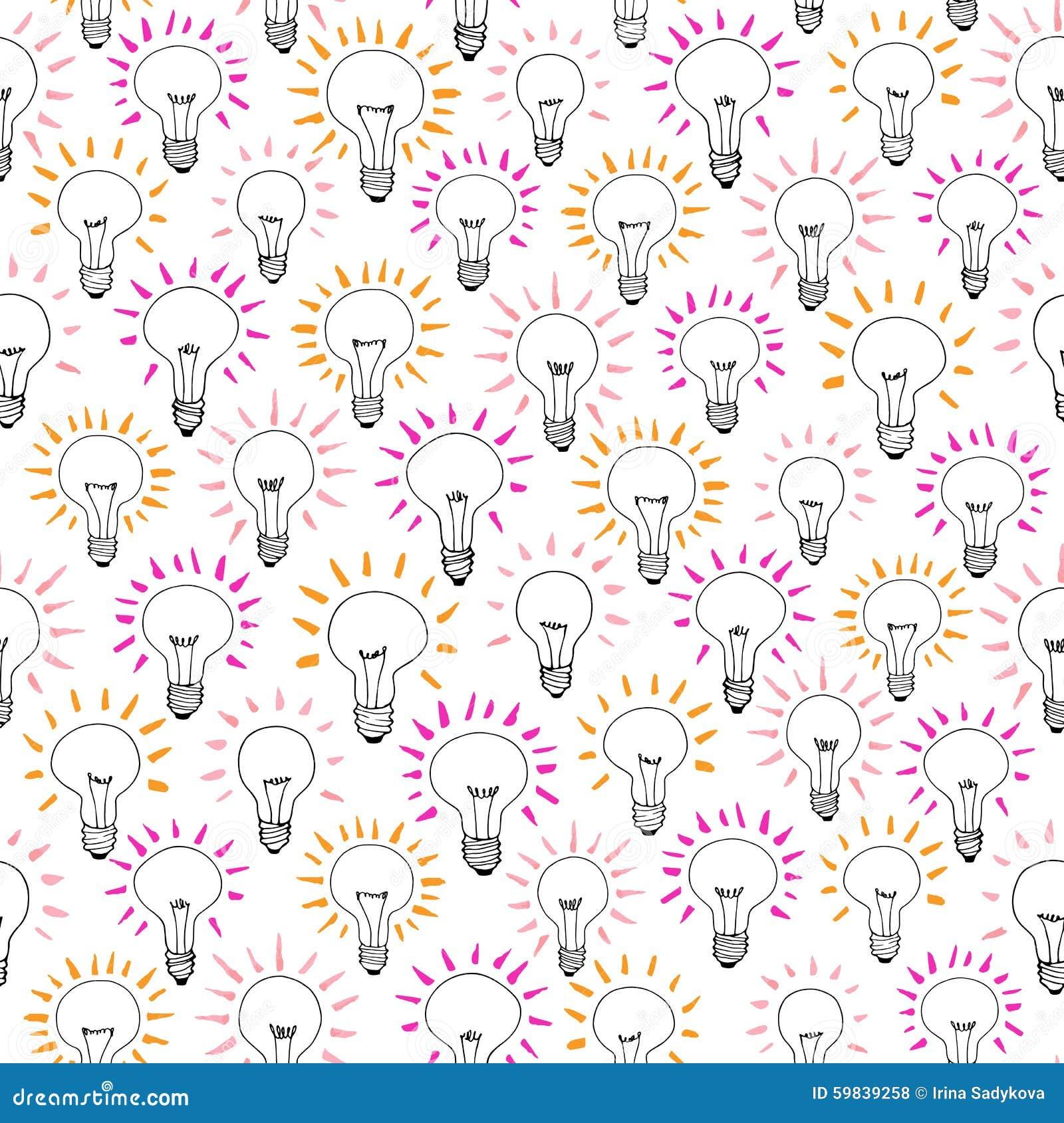 Vector Cartoon Light Bulb Idea Seamless Pattern Stock Vector ...