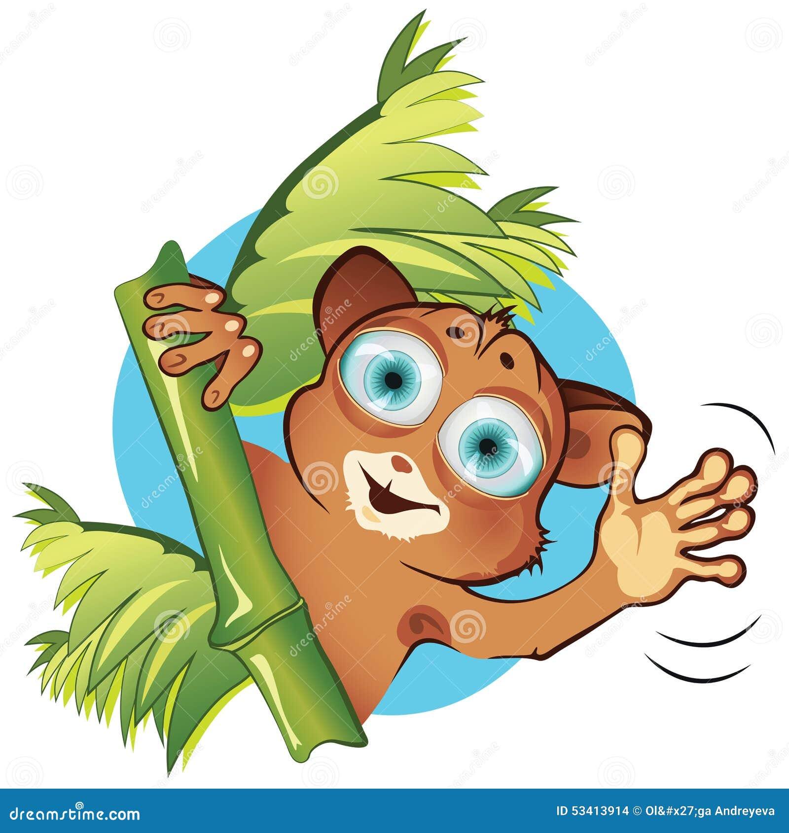 Vector Cartoon Little Animal Tarsier Stock Vector - Image ...