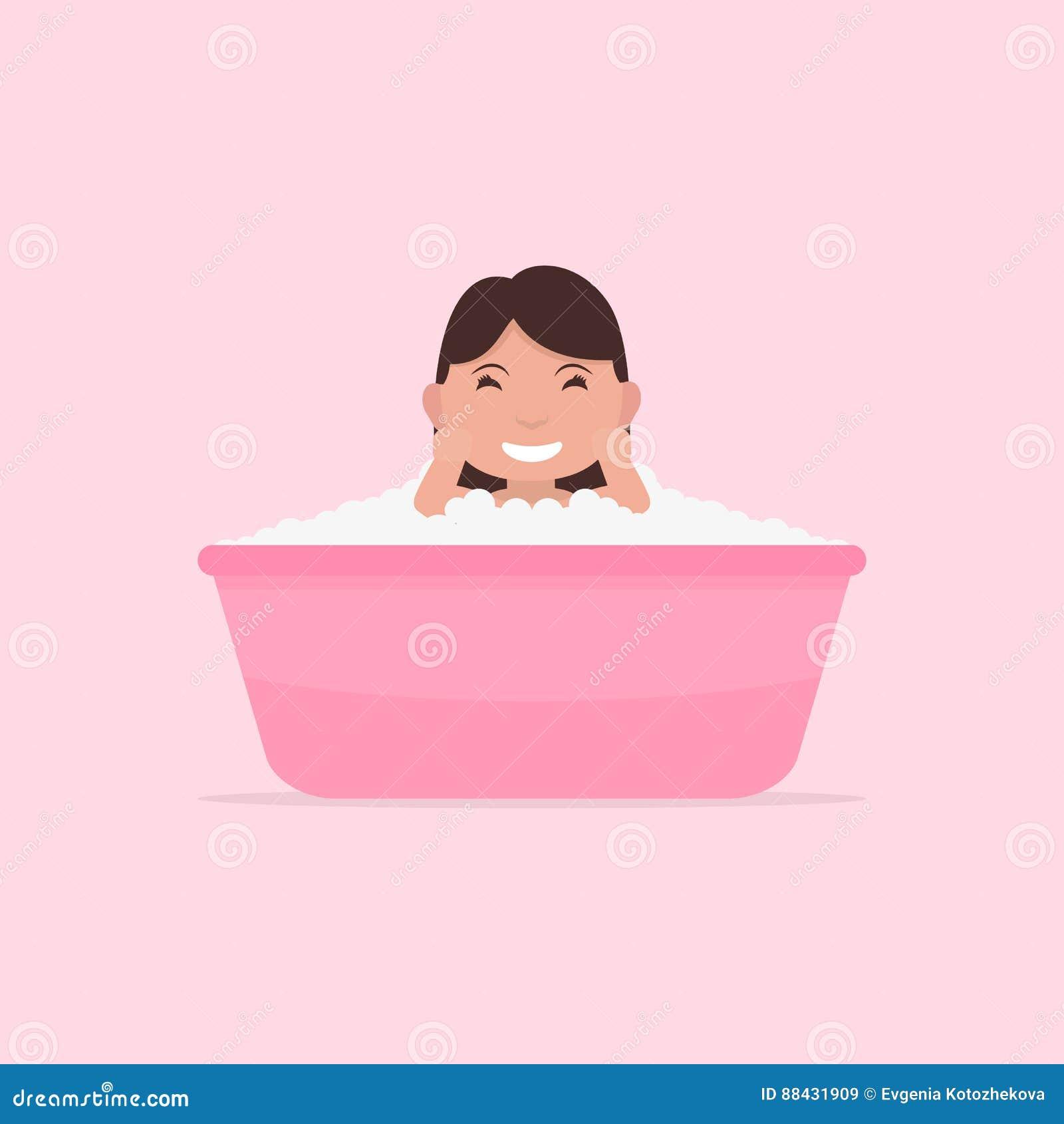 happy cartoon baby kid in bath tub cartoon vector 33551975. Black Bedroom Furniture Sets. Home Design Ideas