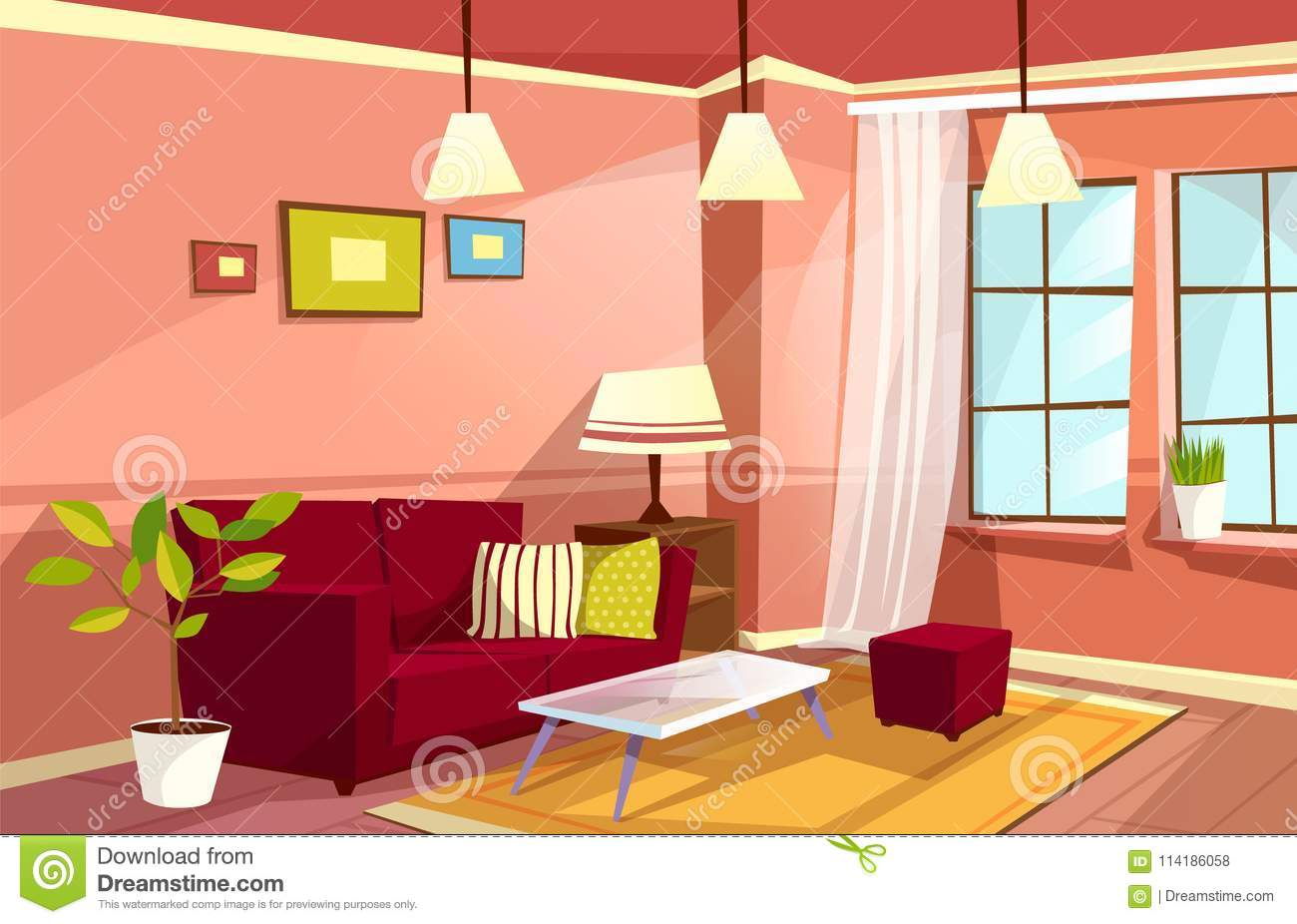 Vector Cartoon Living Room Interior Background Template Cozy House Apartment Concept Illustration With Sofa Pillow Bedside Table Lamp Bookshelf