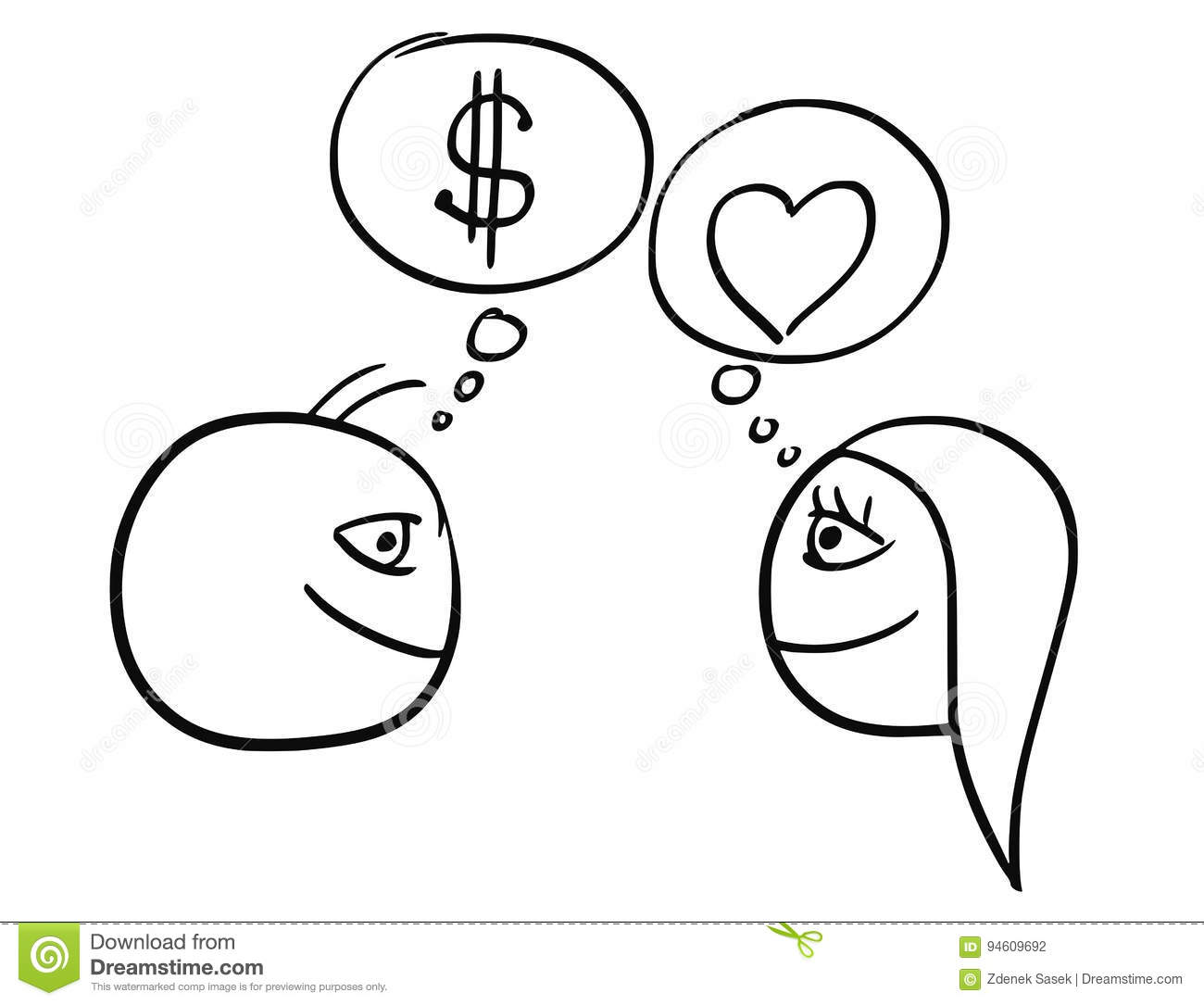 Vector Cartoon Of Man And Woman Thinking Difference About Money