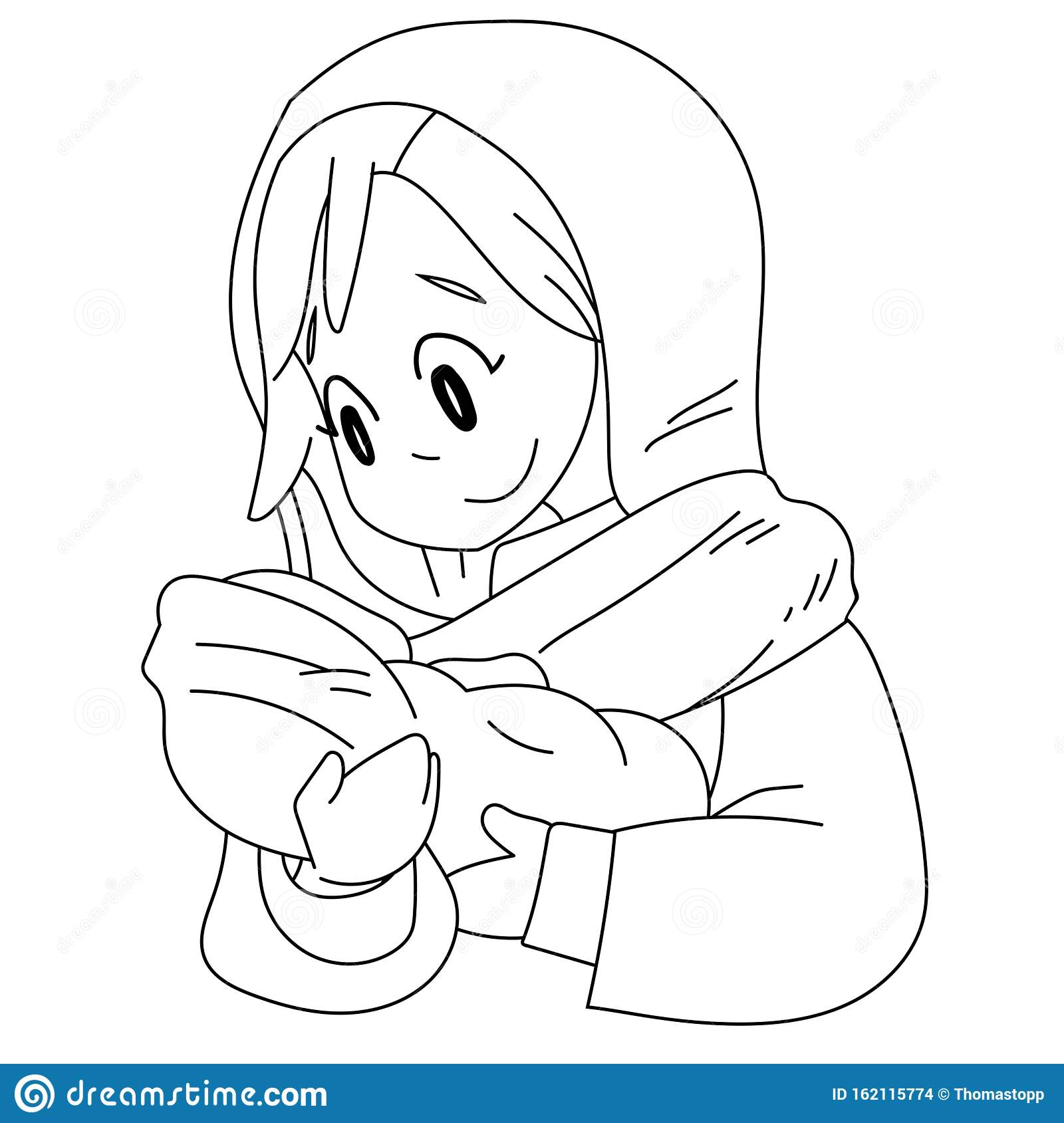 A Vector Cartoon Of Mary Holding Baby Jesus Coloring Page Stock Vector Illustration Of Christian Event 162115774