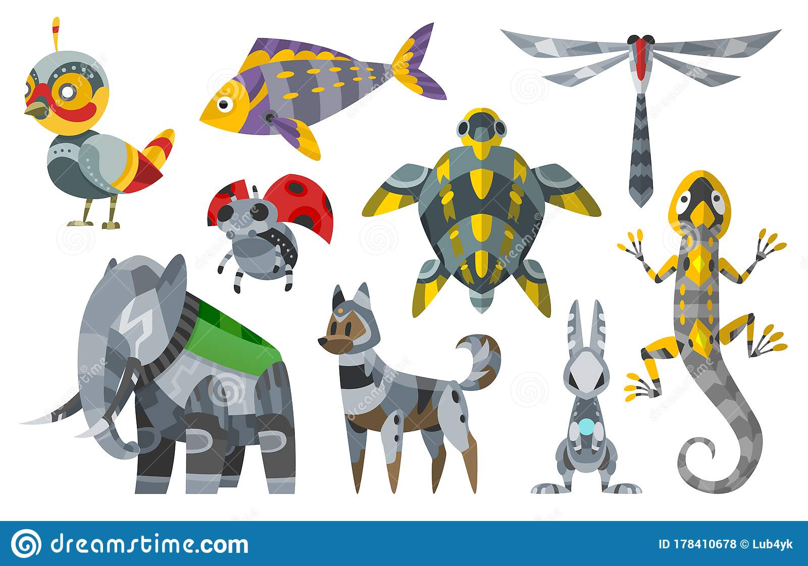 Vector Cartoon Mechanical Robotic Animals. Toy Androids with ...