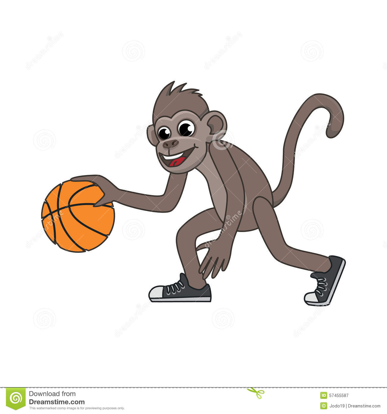Vector Cartoon Monkey Playing Basketball Stock