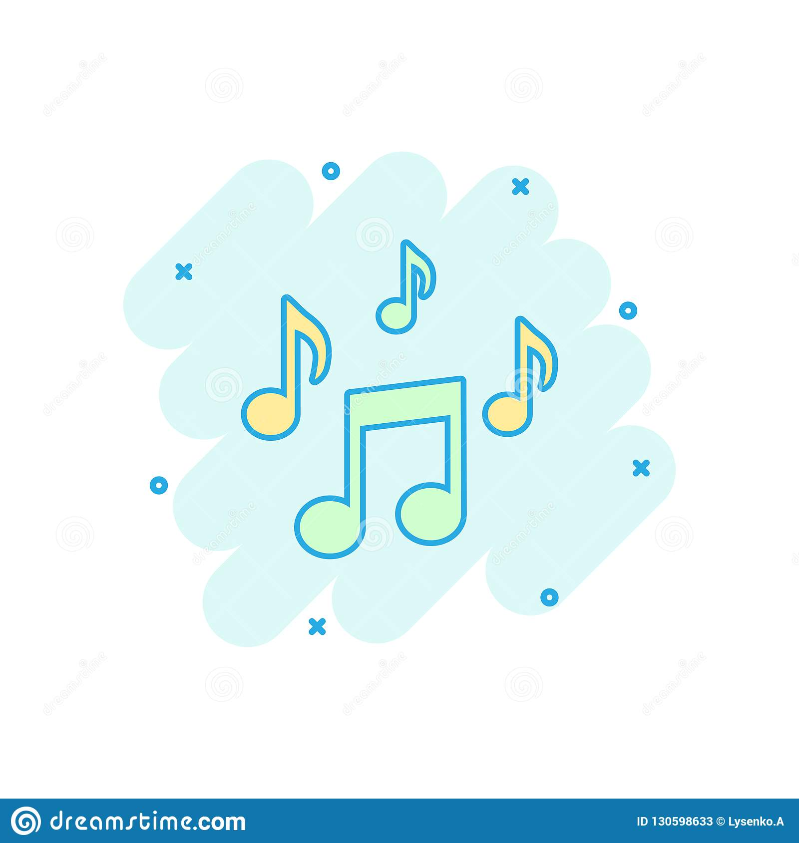 Vector cartoon music note icon in comic style. Sound media concept illustration pictogram. Audio note business splash effect